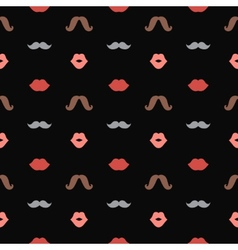 Lips and Mustaches Seamless Pattern vector image