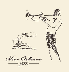 new orleans jazz poster trumpet drawn sketch vector image