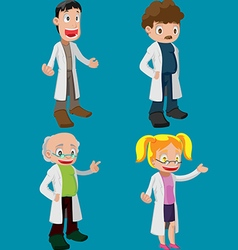 Scientist Cartoon Character Cute Set vector image vector image