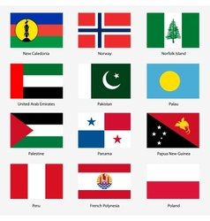 Set Flags of world sovereign states Set n vector image