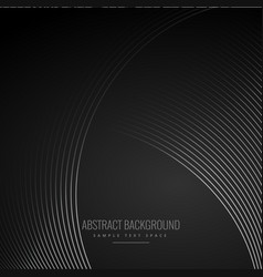smooth curve lines in dark black background vector image vector image