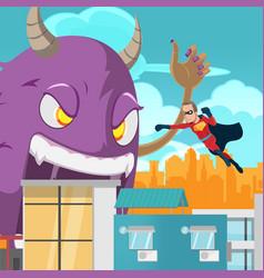 cities superhero monster battle action vector image vector image