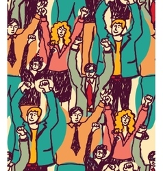 Crowd happy business people seamless pattern vector image