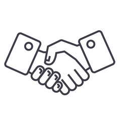 handshake line icon sign on vector image