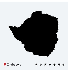 High detailed map of Zimbabwe with navigation pins vector image vector image