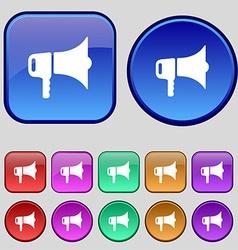 megaphone icon sign A set of twelve vintage vector image
