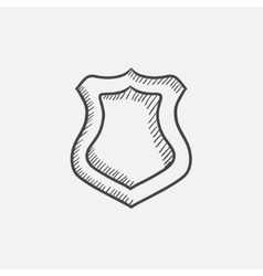 Police badge sketch icon vector image vector image