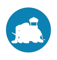 silhouette indian elephant festival blue vector image