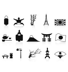 black japanese icons set vector image