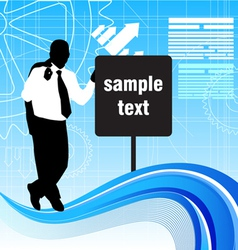 businessman with message sign vector image vector image