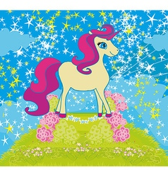 card with stars and a beautiful unicorn vector image vector image