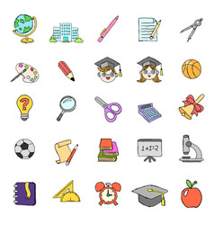 color doodle school icons set vector image