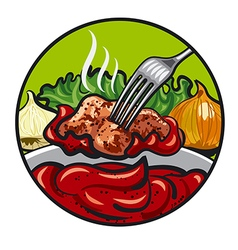 meat and sauce vector image vector image