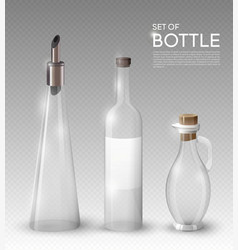 Realistic empty glass bottles collection vector