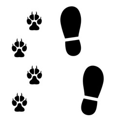 traces of man and dog on white background vector image vector image