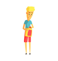 young blond man standing with his backpack vector image