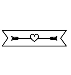 monochrome contour with small heart crossed by vector image