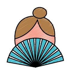 Woman hand fan icon vector