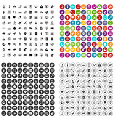 100 telecommunication icons set variant vector