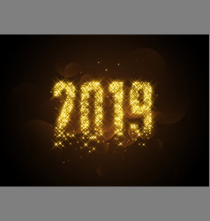 2019 writtern in golden glowing sparles vector