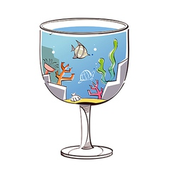 A glass is placed vector image