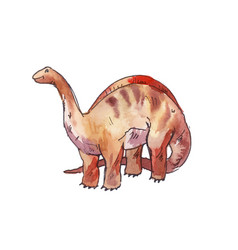Apatosaurus watercolor dinosaur vector