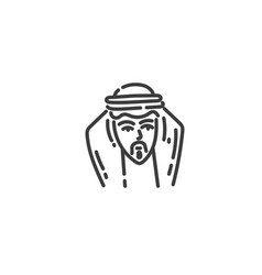 arab man flat outline icon egypt concept vector image