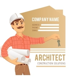 Architect in helmet with blueprints and keys vector