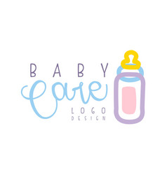 Baby care logo design emblem with pink baby vector