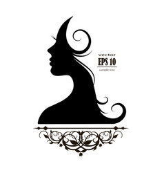 beautiful female silhouette profile vector image