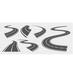 Bending roads driving asphalt strip road curve vector