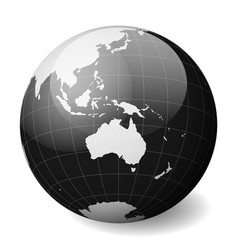 Black earth globe focused on australia with thin vector