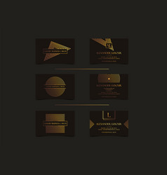 black gold luxury business cards set for vip event vector image