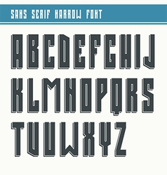 Bold sans serif font in retro style vector