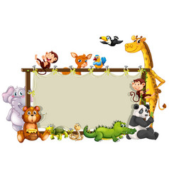 Border template with cute animals vector