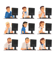 bored business people sitting at office desk vector image