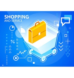 Bright shopping trolley and work suitcase on vector