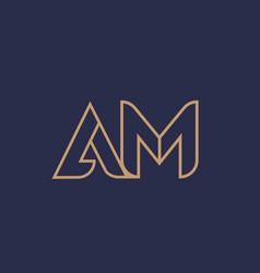 Brown blue line alphabet letter am a m logo vector