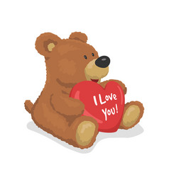 brown teddy bear holds a heart i love you vector image
