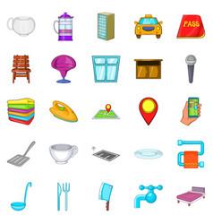 bursa icons set cartoon style vector image