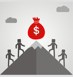 Business people climb the mountain to the bag vector