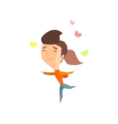 Butterflies In Belly Girl Emotion Icon vector