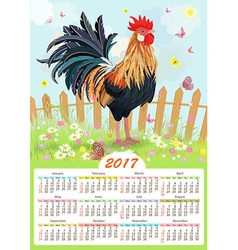 Calendar for 2017 with colorful lovely cockerel in vector