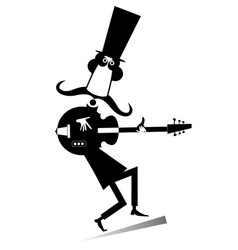cartoon long mustache guitarist is playing music i vector image