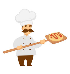 chef cook with pizza on wooden spade isolated male vector image