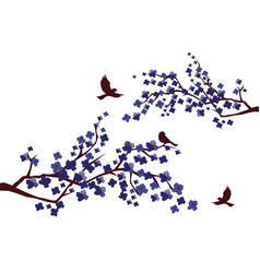 cherry branches with birds vector image