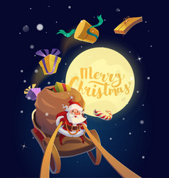 Christmas Card Santa on a sleigh vector image