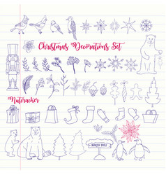 christmas decoration set with nutcracker vector image