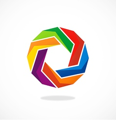 Circular abstract geometry colorful logo vector