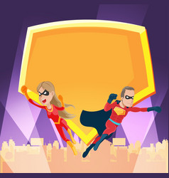 Cities superhero night action show vector